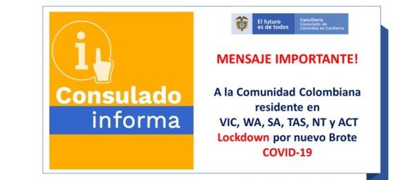 Aviso importante para la comunicad colombiana residente en VIC, WA, SA, TAS, NT y AC Lockdown por nuevo brote de Covid