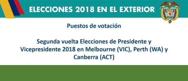Puestos de votación en Melbourne (VIC), Perth (WA) y Canberra (ACT)