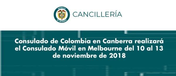 El Consulado de Colombia en Canberra realizará el Consulado Móvil en Melbourne del 10 al 13 de noviembre