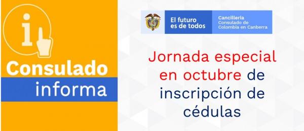 Jornada especial en octubre de 2021 de inscripción de cédulas